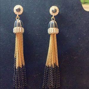 Gold and black chain tassel rhinestone earrings.